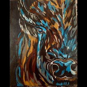 Original painting signed by the artist bison